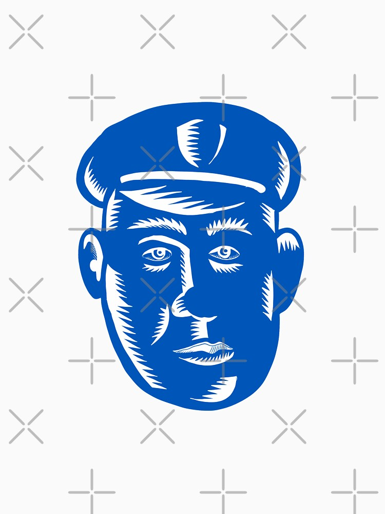 Police Officer Head Woodcut by patrimonio