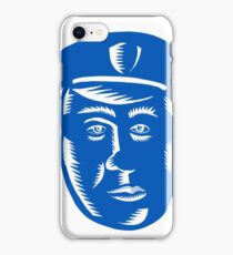 Police Officer Head Woodcut iPhone Case/Skin