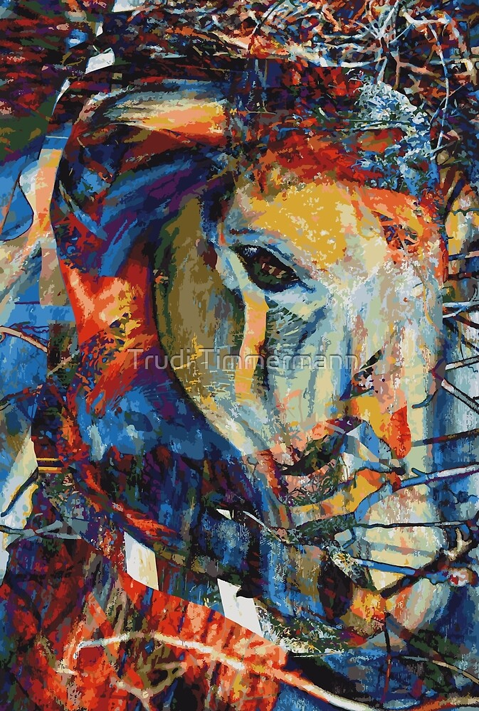 Abstract Horse Wild and Free by Trudi Timmermann