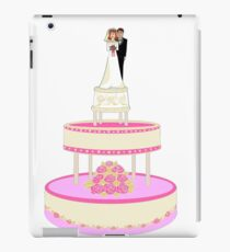A Wedding Cake with Pink roses, Bride and Groom iPad Case/Skin