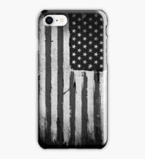 American flag grunge Black and white iPhone Case/Skin