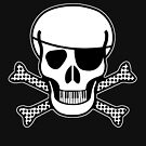 Pirate Squeezebones Black and White for Dark Colors by juliethebruce