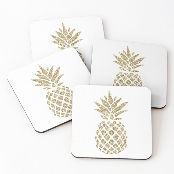 Gold Glitter Pineapple Coasters (Set of 4)