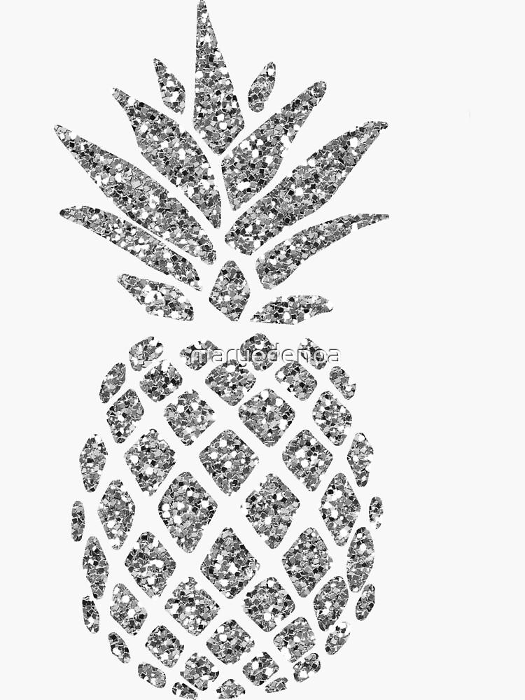 Silver Glitter Pineapple by maryedenoa