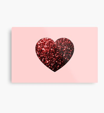 Red Glitter sparkles Heart on light pink Metal Print