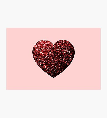 Red Glitter sparkles Heart on light pink Photographic Print