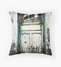 Door And Reflection In Flaking Paint Throw Pillow