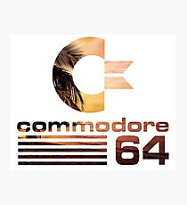 Commodore 64 Palm Tree Sunset Vaporwave Logo Photographic Print