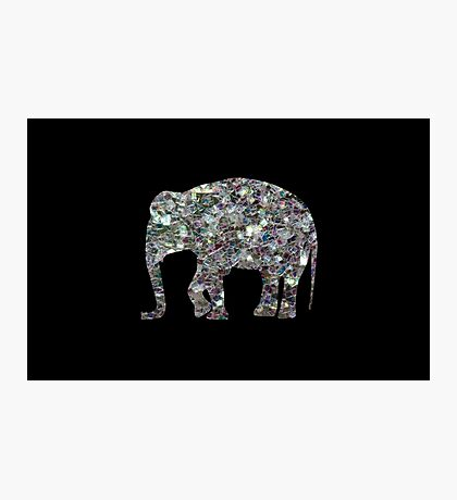 Sparkly colourful silver mosaic Elephant Photographic Print