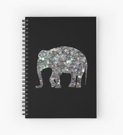 Sparkly colourful silver mosaic Elephant Spiral Notebook