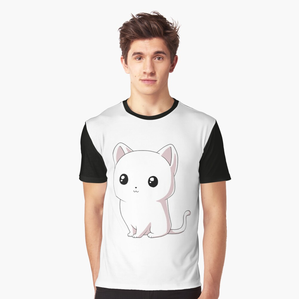 White Cat Graphic T-Shirt Front