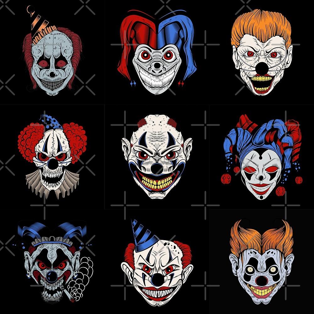 Dark evil clowns by Vesaints