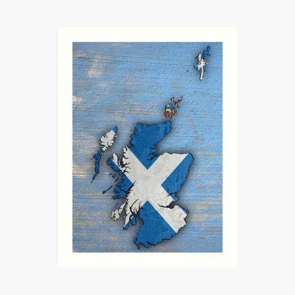 Flag Map of Scotland Art Print