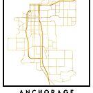ANCHORAGE ALASKA CITY STREET MAP ART by deificusArt