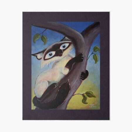 Tree Climbing Cat Art Board Print