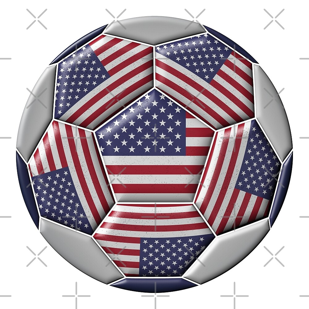 Soccer ball with United States flag by siloto