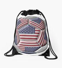 Soccer ball with United States flag Drawstring Bag