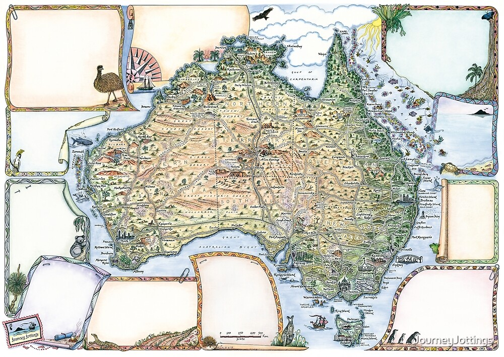 Australia Pictorial Map by Journey Jottings by JourneyJottings