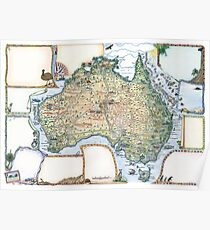 Australia Pictorial Map by Journey Jottings Poster