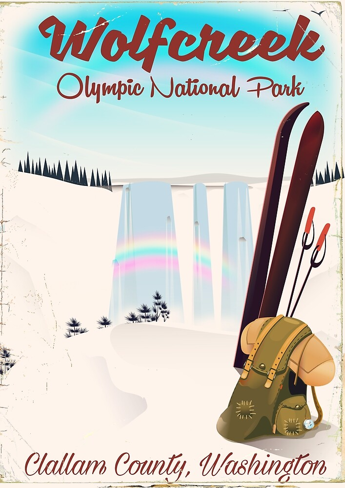Wolf Creek Olympic National Park Vacation poster. by vectorwebstore