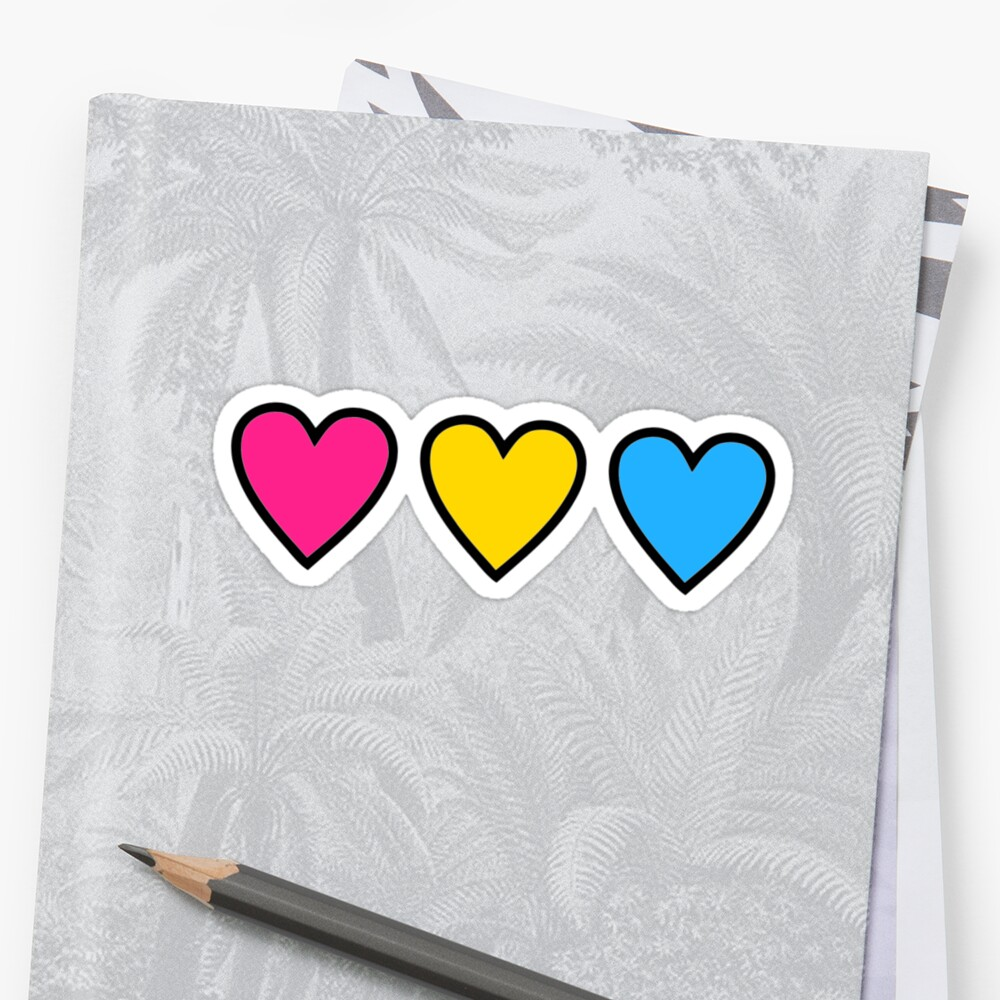 pansexual pride hearts by katrinawaffles