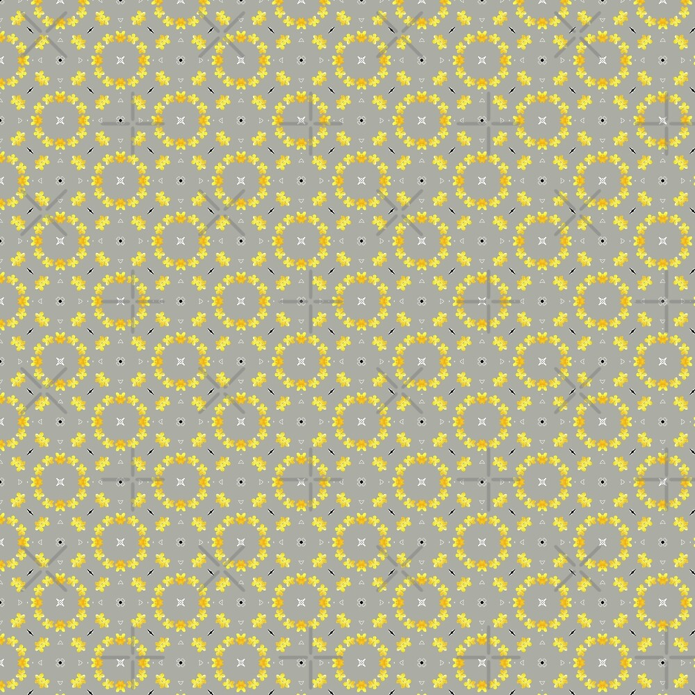 Yellow and Grey Florals, Geometric Pattern by Seremina