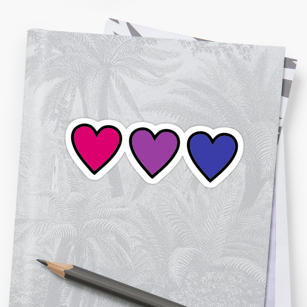 corazones bis bisexuales del orgullo Pegatina