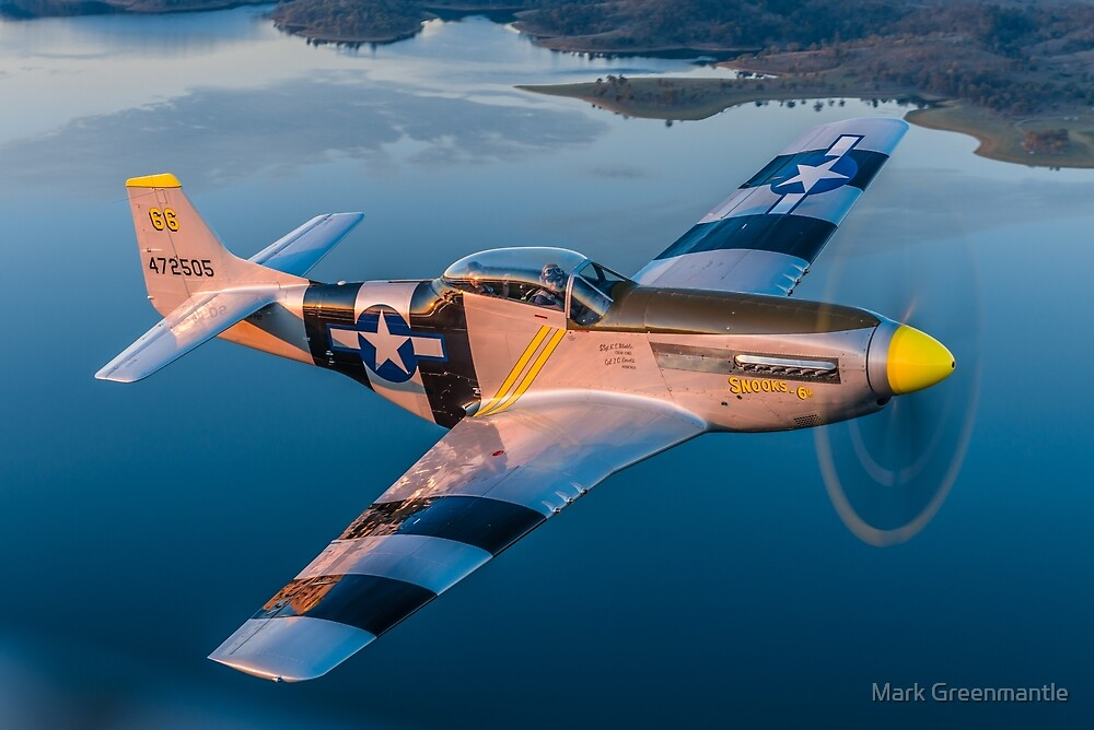 WWII USAAF P-51D Mustang over water by Mark Greenmantle
