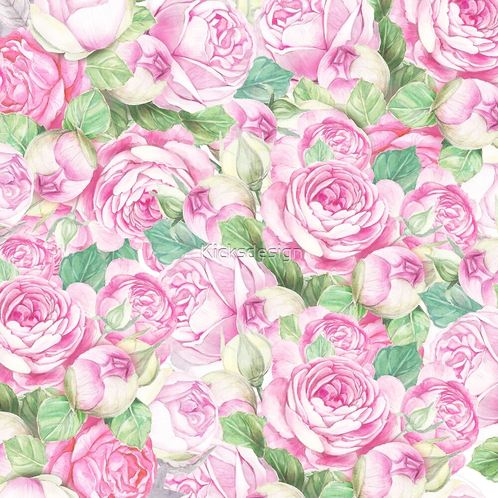 Fuchsia pastel pink green elegant roses floral by Maria Fernandes
