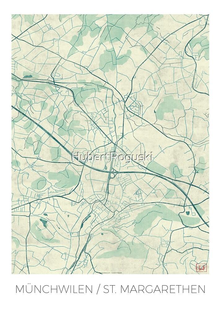 Münchwilen St. Margarethen Map Blue Vintage by HubertRoguski