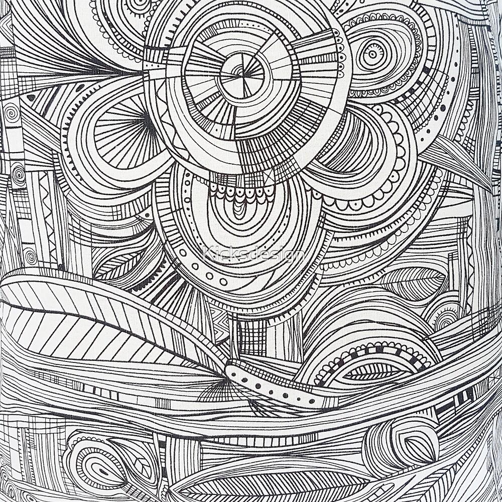 Hand drawn black white pencil zentangle floral by Kicksdesign