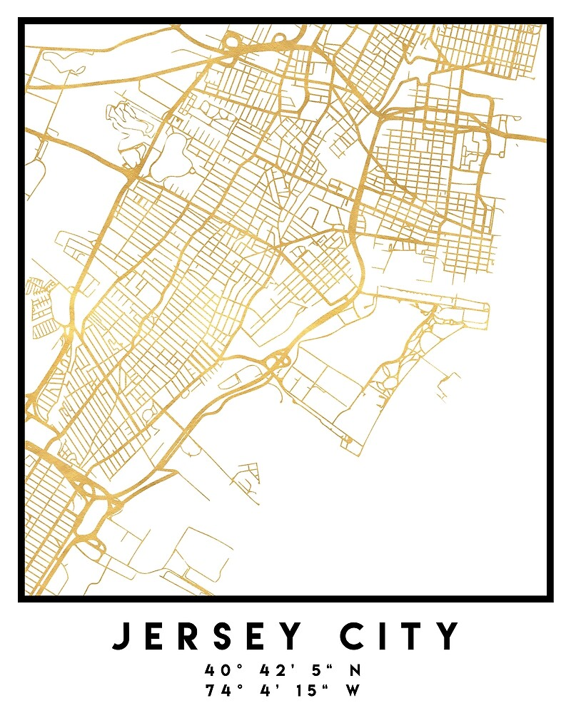 JERSEY CITY NEW JERSEY STREET MAP ART by deificusArt
