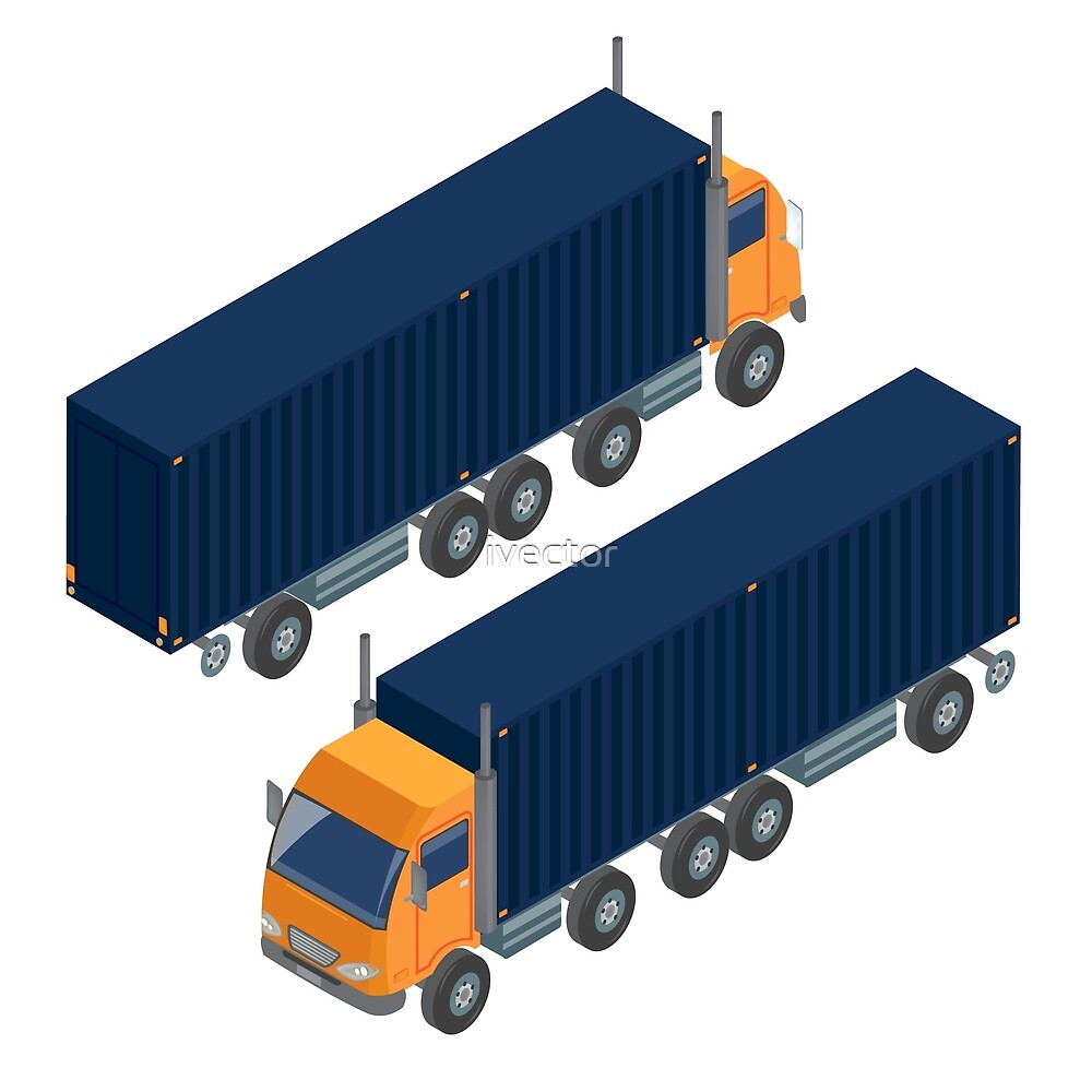 Cargo Transportation. Isometric Truck. Isometric Transportation. Cargo Trailer. Delivery Truck. Logistics Transportation. Mode of Transportation. Cargo Truck.  by ivector