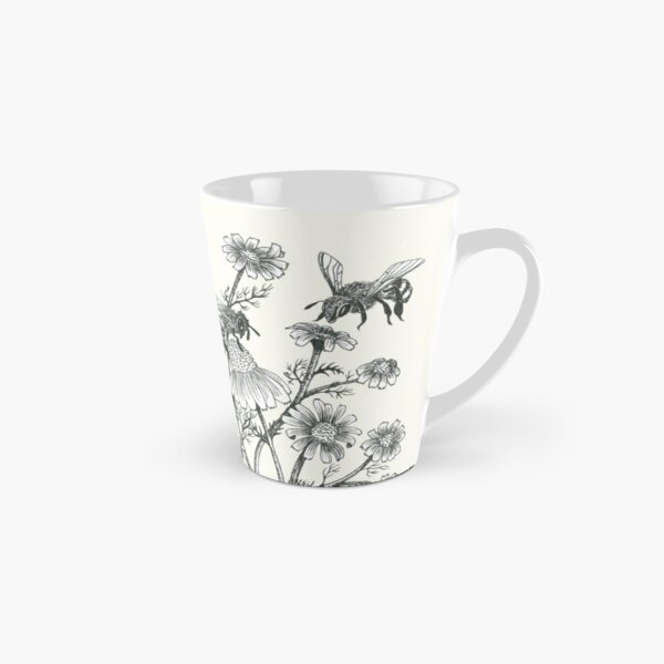 bees and chamomile on offwhite background Tall Mug