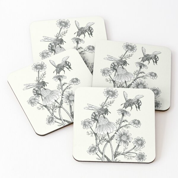 bees and chamomile on offwhite background Coasters (Set of 4)