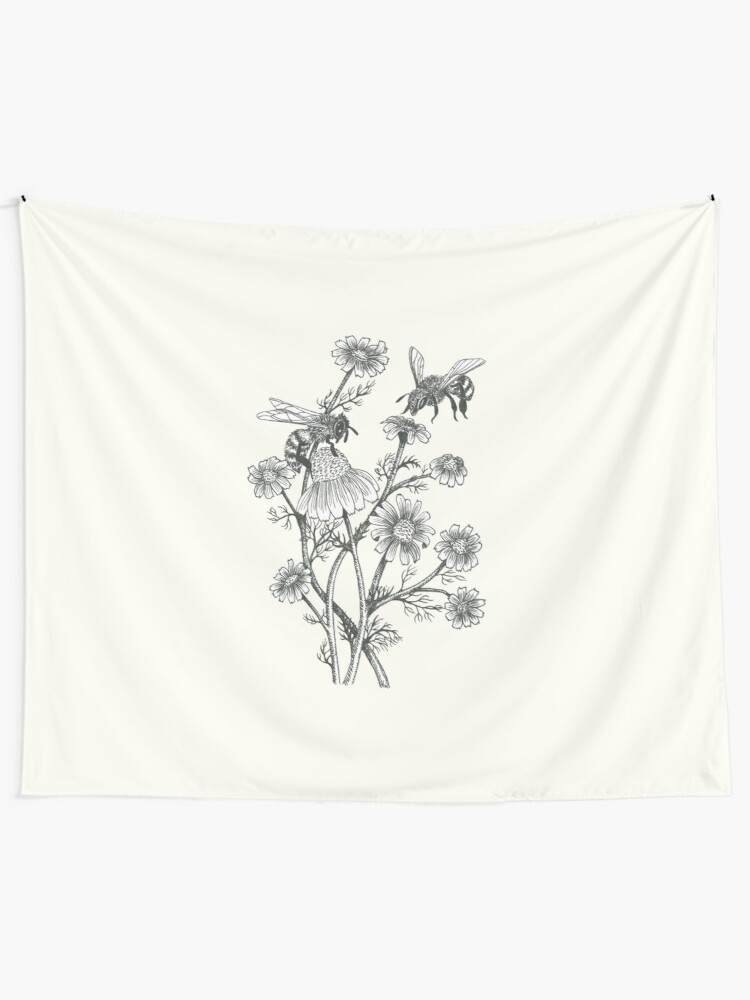 Alternate view of bees and chamomile on offwhite background Tapestry