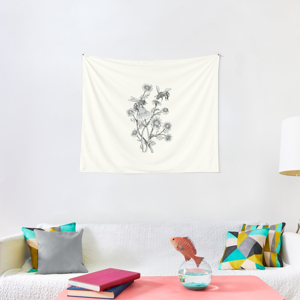 bees and chamomile on offwhite background Tapestry
