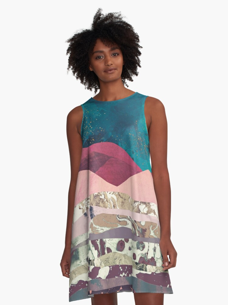 Magenta Mountain A-Line Dress Front