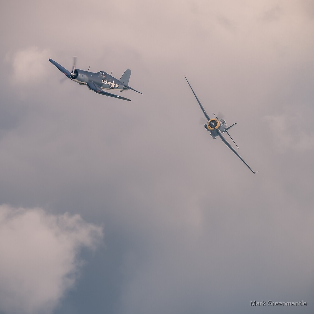 Corsair and Avenger breaking out of cloud by Mark Greenmantle