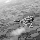 Avro Vulcan over Essex black and white version by Gary Eason