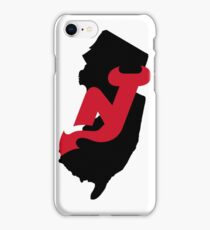 NJ outline with Devils logo iPhone Case/Skin