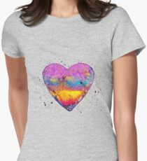 Rainbow Love | Abstract watercolors art Women's Fitted T-Shirt