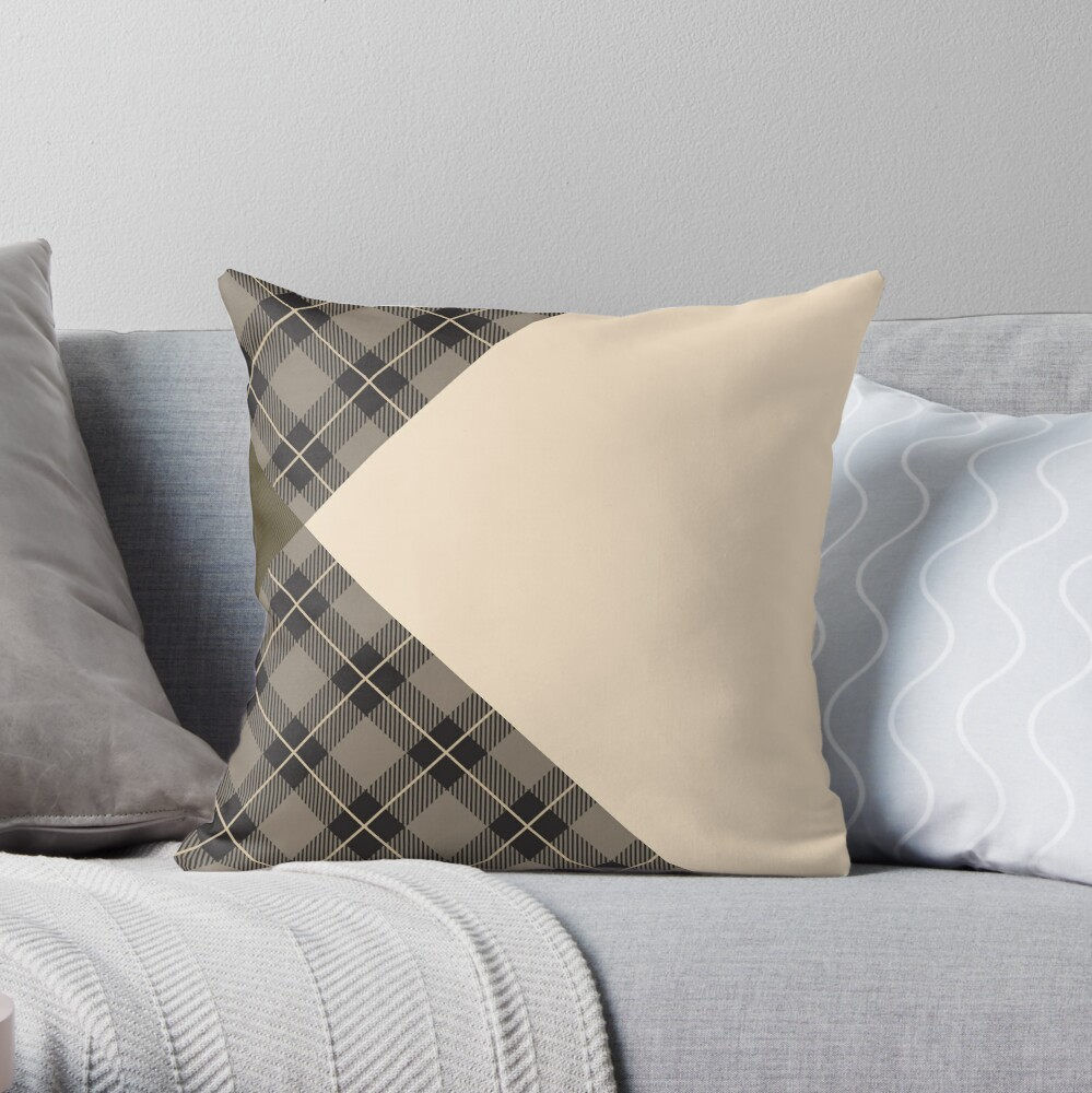 Kiltered 1 - Tartan and tweed cushion Throw Pillow