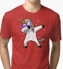Dabbing Unicorn Shirt Dab Hip Hop Funny Magic Tri-blend T-Shirt