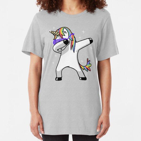 Dabbing Unicorn Shirt Dab Hip Hop Funny Magic Slim Fit T-Shirt