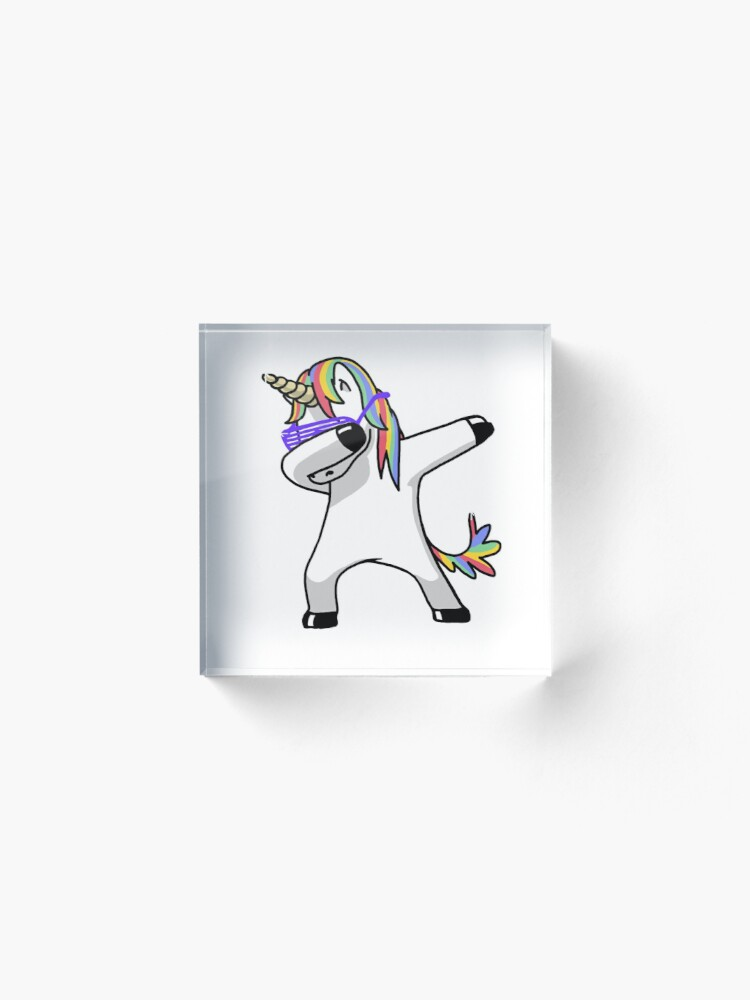 Alternate view of Dabbing Unicorn Shirt Dab Hip Hop Funny Magic Acrylic Block