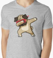 Dabbing Pug Funny Shirt Hip Hop Dabbin Men's V-Neck T-Shirt