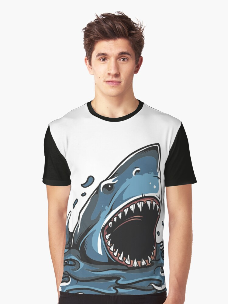 Shark in The Water Design Shirt Graphic T-Shirt Front