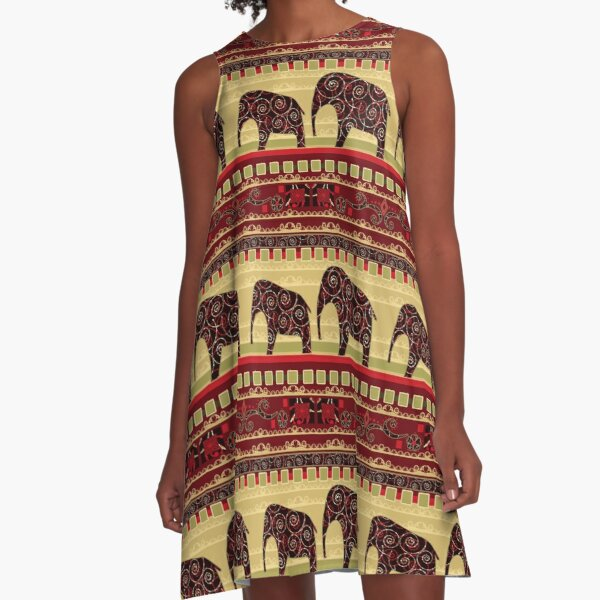 African print with elephants A-Line Dress