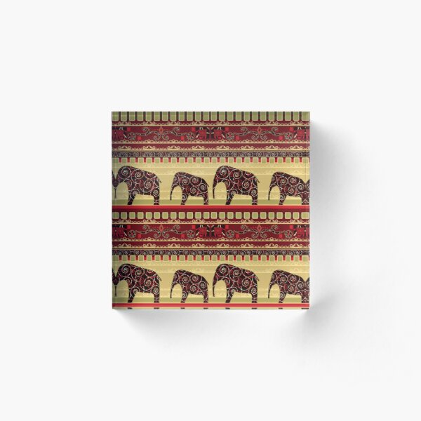 African print with elephants Acrylic Block